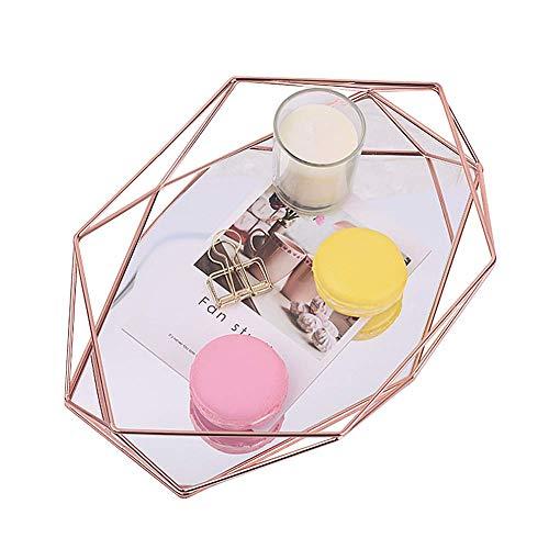 Bandeja de espejo de tocador para tocador, organizador de bandeja de espejo de oro rosa/oro geométrico...