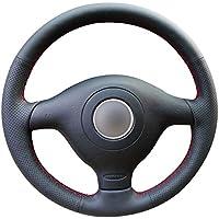 Shining wheat Funda para Volante de Coche de Cuero Negro Brillante Personalizada para Volkswagen VW Golf 4 Passat B5 1996 – 2003 Skoda Fabia RS 2003 Polo ...