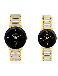 IIK Collection Analogue Black Dial Men'S And Women'S Watch IIK089M-1089W