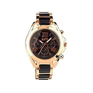 Eton señoras Reloj, Negro/Tono de Oro Rosa Pulsera de Enlace, Low níquel 3209j-bk