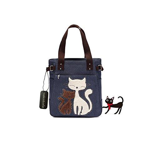 Ofertas del Viernes Negro 2016 valentoria® Multifunción de diseño de gato de la mujer de lona Cierre de cremallera bolso de mano bolsa para el almuerzo con gran capacidad mejores regalos para Teen Girls
