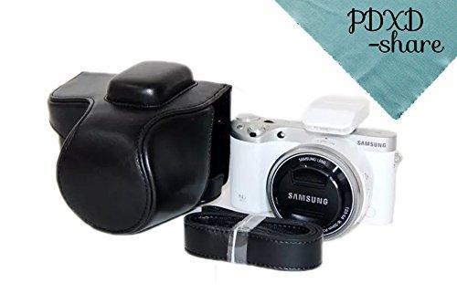 PDXD-share Kameratasche Leder Tasche für Samsung NX500 Digitalkamera (Schwarz)