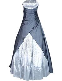 JuJu & Christine Diamante - Vestido largo de noche para mujer, de satén, varios