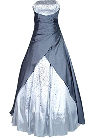 JuJu & Christine Langes Kleid Abendkleid Ballkleid Cocktailkleid (A2007) mit Stola silber Gr. 40