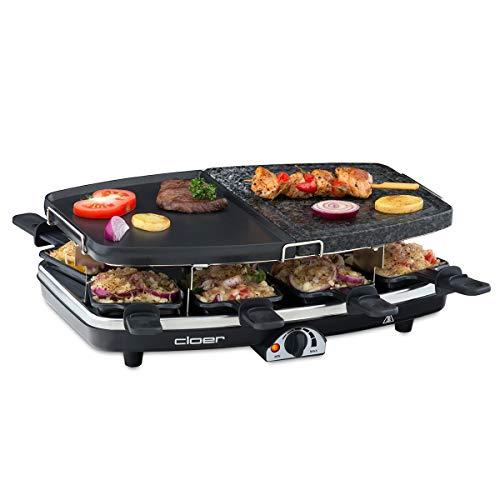 Cloer 6435 Raclette mit Naturstein / 1200 W / 8 antihaftbeschichtete Raclettepfännchen