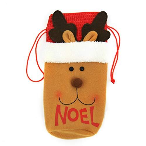 HSKB Weihnachten Weinflasche Abdeckung Süß Stoff Festlich Motiv Weihnachtsdeko Tischdeko Weinbox Weinbag Flaschen Kleidung Besteckhalter Dekore