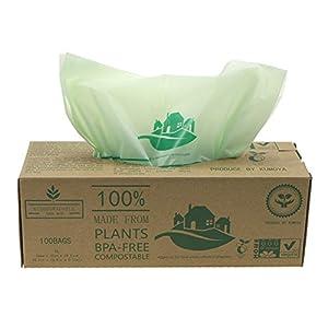 Kumoya BioBag kompostierbarer 100 STK Küchenmüllsack 6/10/30 Liter, biologisch abbaubar grün kompostieranleitung, Einlegesack für die Biotonne Müllsäcke