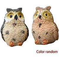 Fornateu Figuras de Dibujos Animados 2pcs Artificial Resina búho Mini Animal Linda casa de muñecas en Miniatura Micro Paisaje Decoración Color al Azar