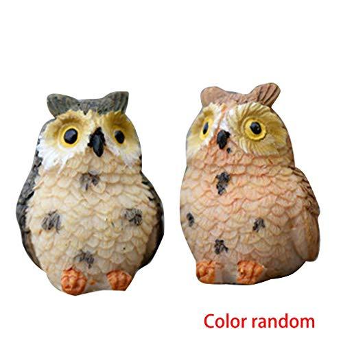 Provide The Best 2ST Kunstharz- Eule Mini Nette Tierfiguren Cartoonminiaturpuppenhaus Micro Landschaftsbau Dekoration zufällige Farbe