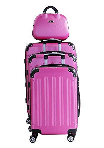 P-Collection P-Collection Koffer Trolley Handgepäck Reisekoffer Hartschalenkoffer Zwillingsrollen M-L-XL-Set Dehnungsfuge 5 Farben (Pink 4er Set)