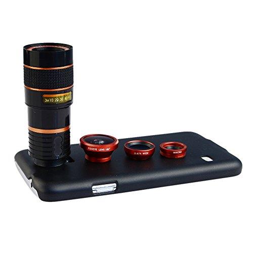 Apexel 4-in-1-Weitwinkel-Makro- und 8 x Teleobjektiv + Rückschale für iPhone 6 Plus rot