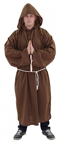 Foxxeo 40017 | Deluxe Mönch Kostüm Gr. M - XXXXL, Größe:XXXL (Robe Erwachsene Mönch)