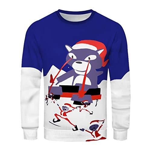 Party Instrumental Kostüm - Weihnachtspullover für Paare Weihnachten Sweatshirt 3D Drucken Christmas Ugly Sweater Weihnachtsmann Herren Damen Langarmshirt Festliches Top Pullover Pulli Weihnachtskleid Rot Oberteile