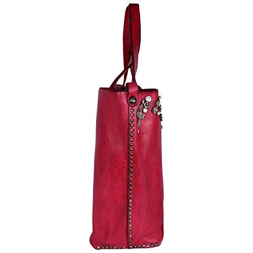CAMPOMAGGI sac porté épaule avec strass et rivets (l x h x p) 45 x 27 x 13 cm Fuxia, Pink