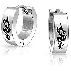 Bling Jewelry Mens grabado con láser en acero inoxidable Dragón Negro Huggie aros
