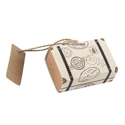 50pz scatole portaconfetti segnaposto bomboniere con etichetta forma valigetta viaggio nel mondo