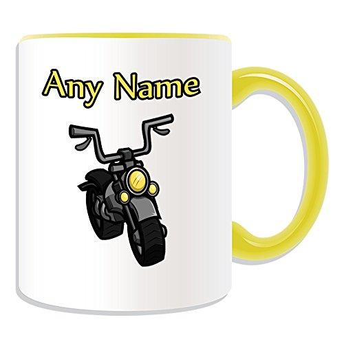 Personalisiertes Geschenk-Motorrad Tasse (Design Thema, Farbe Optionen)-Für jede Nachricht/Name auf Ihrem Einzigartig-Motorrad Motorrad Motorradfahrer Fahrzeug Moto Motorrad Motorrad Bike Cycle Race Rider Treiber Sport, keramik, gelb