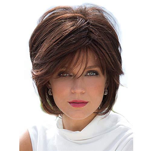 Fleurapance - Pelucas de pelo humano para mujer, cortas y muy naturales, estilo Bobo, rubias marrones...