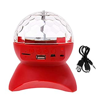 Kanitry Bluetooth Speakers Portable, Bluetooth Speaker Wireless Multi-Color Rotating Crystal Ball Stage LED Light USB TF Card AUV FM Radio MP3 Music DJ Disco Party Club Dance Hall (Red)