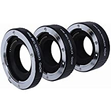 Juego de Tubos de Extensión Macro AF de Movo Photo para Cámaras sin Espejo Nikon 1, AW1, J1, J2, J3, JF, S1, S2, V1, V2, V3 con tubos de 10mm, 16mm & 21mm (metálicos)