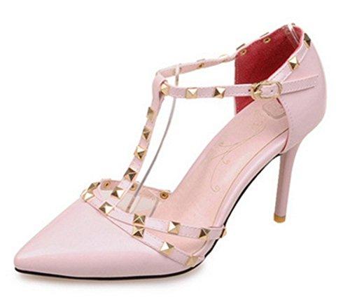 Aisun Damen Modern Spitz Zehe Nieten Lackleder T-Spange Stiletto Geschlossen Sandale Pink
