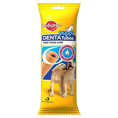 Pedigree Puppy 3 Denta Tubos with Chicken Dogs Treats 72g Case of 6