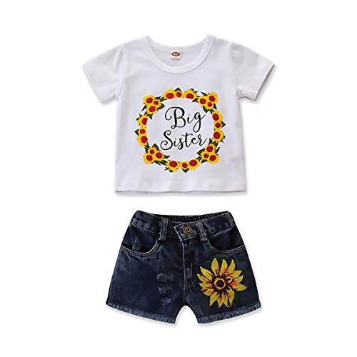- Jungen Set Kinderbekleidung Top Hosen Neugeborenen Kurzarm Sunflower Brief gedruckt Denim Shorts Zweiteilige Kid Gentleman Summer Set