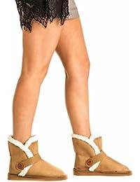 PILOT® bottes courtes lana détail de bouton faux daim