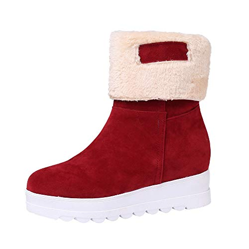 MYMYG Damen Winter Stiefeletten Frauen Wildleder Runde Zehe Wedges Schuhe halten warme Slip-On Plüsch Schnee Stiefel Warme Plüsch Gefüttert Kurzschaft Wildleder Stiefel mit Blockabsatz