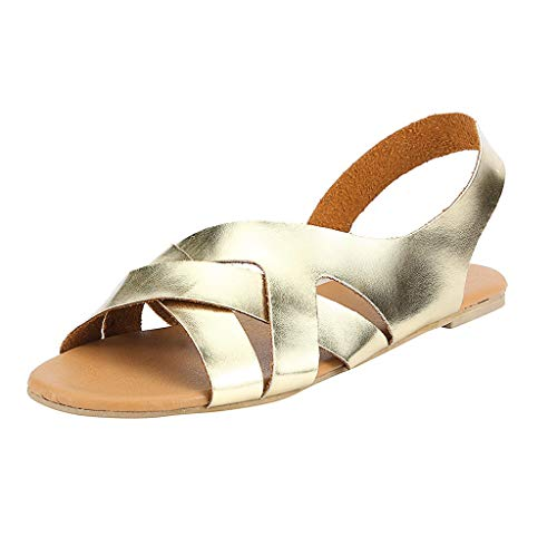 Damen Flats Gladiator Sandalen, Sommermode Design Sling Back Low Wedges Sandalen Peep Toe Slip on Summer Beach Schuhe Leder Rom Sandale