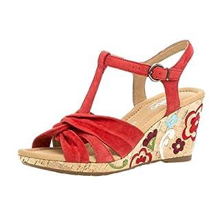 Gabor 22.828 Women,Wedge Sandals,Sandals,Wedge Sandals,Summer Shoes,Comfortable,Flat,Comfort-Mehrweite,Flame (Fl.mu.),39 EU/6 UK