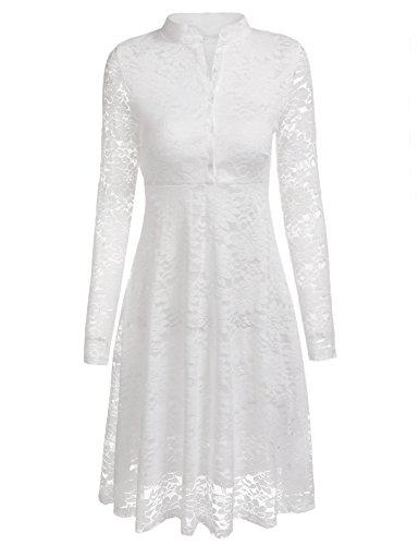 Beyove Damen Elegant Kleid Spitzenkleid Cocktaikleid Abendkleid Partykleid Hochzeit Knielang...