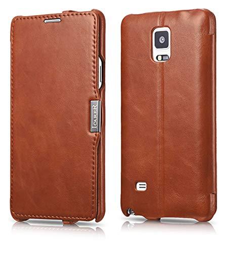 Luxus Tasche für Samsung Galaxy Note 4 / SM-N910 / Case Außenseite aus Echt-Leder / Innenseite aus Textil / Modell: Luxury / Schutz-Hülle seitlich aufklappbar / ultra-slim Cover / Etui mit Standfunktion / Vintage Look / Farbe: Braun - Für 3 Holster Note Samsung
