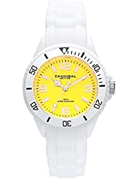 Cannibal Kid's Quartz Watch with Yellow Dial Analogue Display and White Silicone Strap CK215-01F