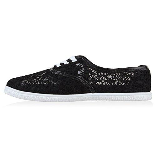 Damen Sneaker Slipper mit Spitze Sommer in mehreren Farben 36 -41 Schwarz