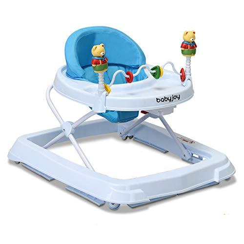 DREAMADE Lauflernhilfe, Baby Walker Gehfrei, Laufhilfe mit Spielzeugen, Lauflernwagen, Laufstuhl Höhenverstellbar (Blau)