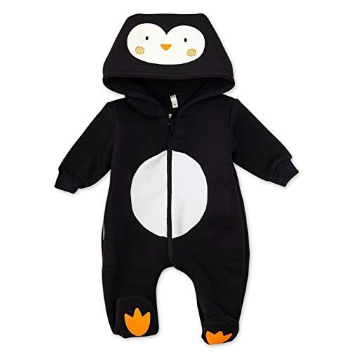 Baby Sweets Baby Tier Strampler Unisex schwarz | Motiv: Pinguin | Tierstrampler mit Kapuze für Neugeborene & Kleinkinder | Größe Newborn - Pinguin Baby Kostüm