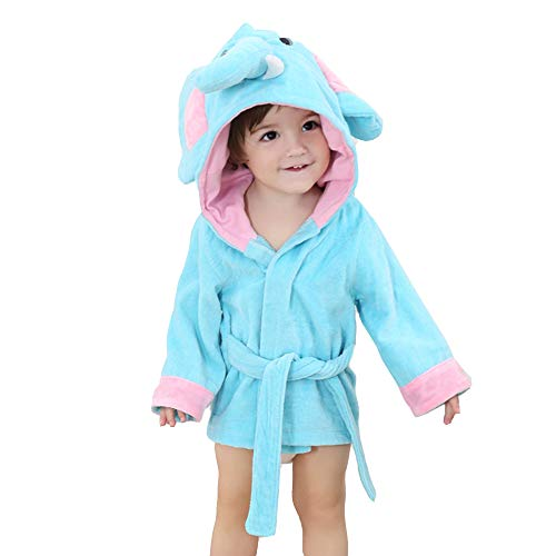 BaronHong Cotton Cute Monster Hood Animal Cartoon Forma Unisex-Baby Albornoz (Azul-Elefante, M)