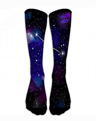 Bgejkos Men & Women Classics Crew Socks Aquarius Constellation with Triangular Funny Crazy Unique Thick Warm Cotton Crew Winter Socks Personalized Gift Socks -