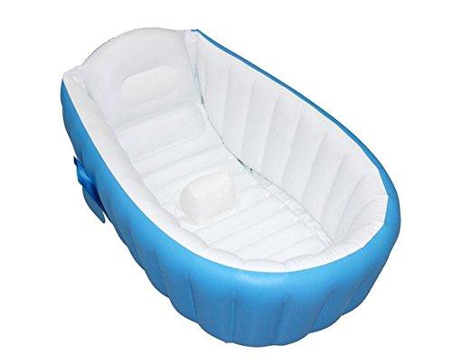 OOFWY Gonflable bébé Baignoire, portable Mini Air Piscine Kid Infant Toddler épais bassin de douche pliable avec coussin souple Siège central (Bleu) , A