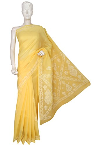 ADA Women's Cotton Hand Embroidered Lucknow Chikan Saree With Blouse Piece (A193333_Yellow)