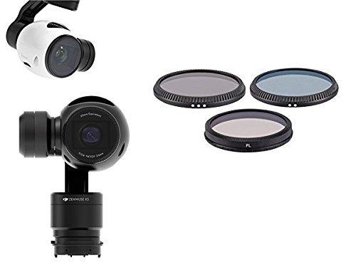 { SET di filtri per DJI } DJI Osmo Stabilizzatore (gimbal) a 3 assi portatile dotato di telecamera, 4K, 12 megapixel e DJI Drone Aereo Quadricottero Inspire 1 UAV con Zenmuse X3 . filtri Kit Include: Filtro Polarizzatore - Filtro ND neutri ND8 e ND4