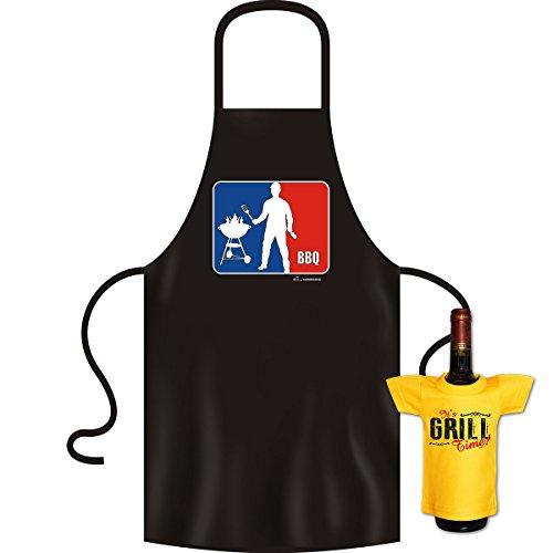 Tablier pour barbecue et cuisine, tablier de bBQ-grill & mini comme geschenkeset t-shirt