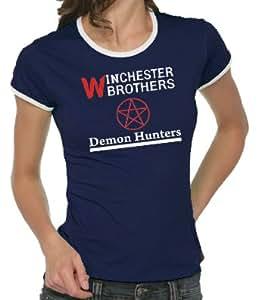 Supernatural - Demon Hunters Girlie Ringer T-Shirt Navy, XL