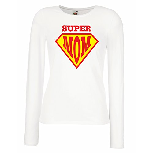 Weibliche Langen Ärmeln T-Shirt Super MOM - für Frau Geschenke Frauen (Large Weiß Mehrfarben)