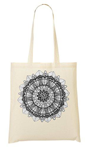 Peace Mandala White Handmade Drawing Sacred Circle Healing Power Tragetasche Einkaufstasche -