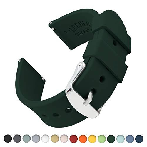 Archer Watch Straps Silikon Uhrenarmband mit Schnellverschluss - Dunkelgrün, 22mm (Uhrenarmband Silikon Fossil)