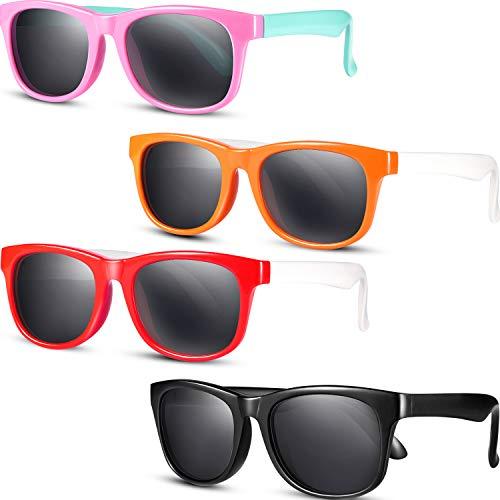 Pelopy 4 Stücke Kleinkind Sonnenbrillen Kinder Polarisierte Sonnenbrillen Gummi Flexible Shades UV Schutz Brillen für Mädchen Jungen, Verschiedene Farben