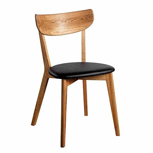 Pharao24 Stuhl aus Eiche Massivholz Schwarz Kunstleder