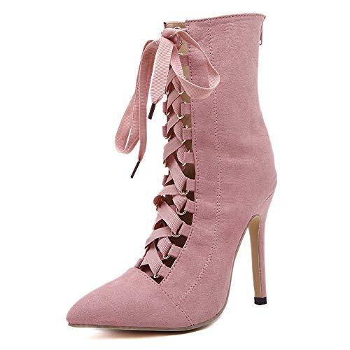 WIEIS Damen Riemen Schnalle Pfennigabsatz Stiefeletten Grosse High Heels Spitzkreuzriemen Nackte Stiefel,Rosa,5 - Stiefel 5 Schnalle, Pfennigabsatz